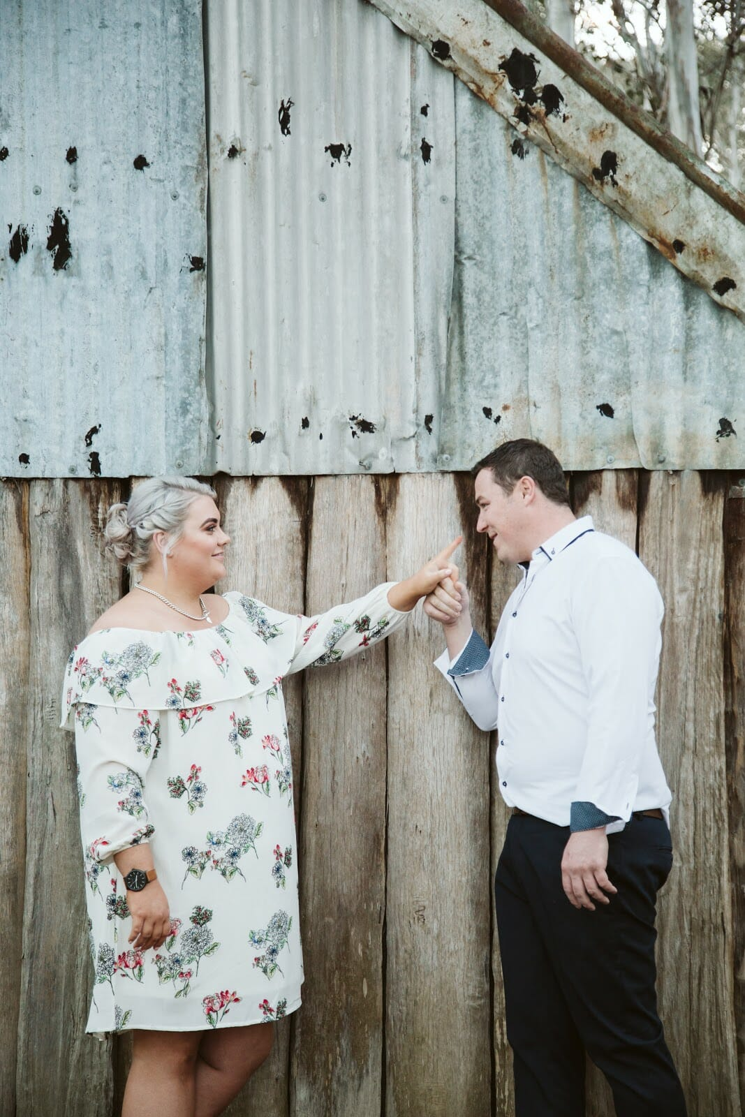 cute engagement photo of kissing hands